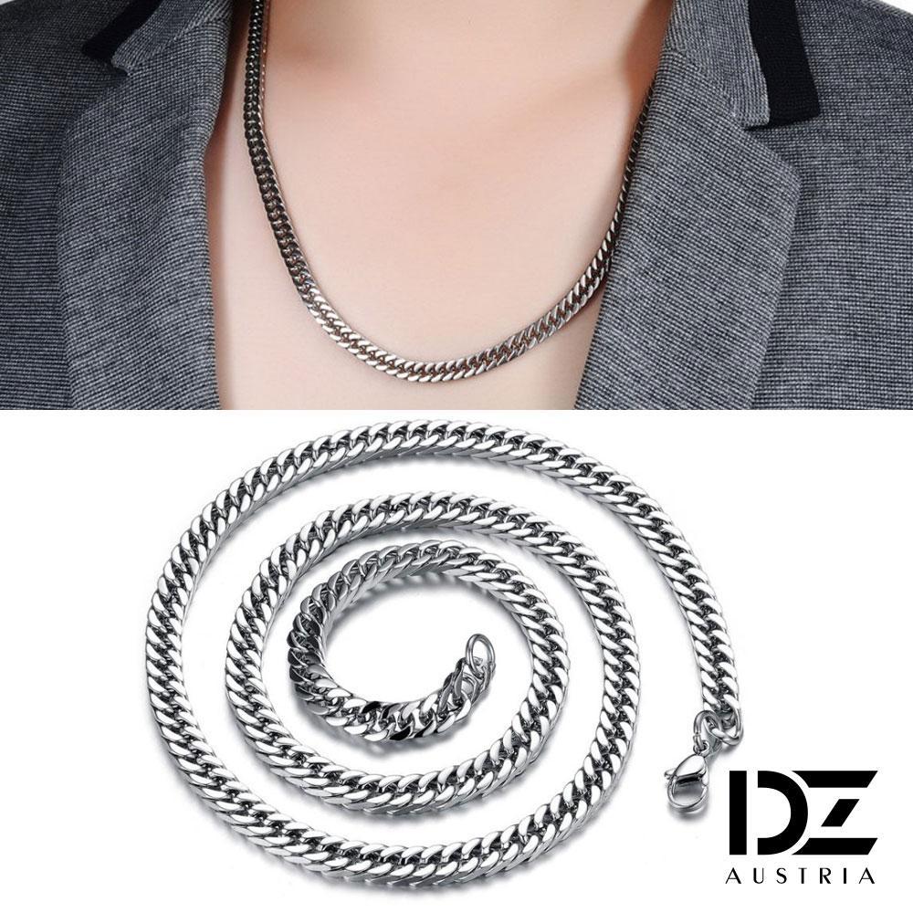 【3件5折】DZ 粗曠龐克風 316L白鋼扁形項鍊(寬6mm)