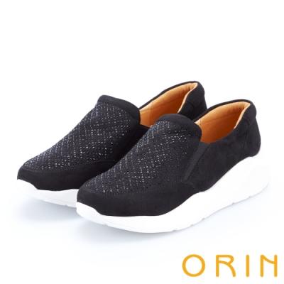 ORIN 時尚渡假風 閃閃燙鑽厚底休閒便鞋-黑色