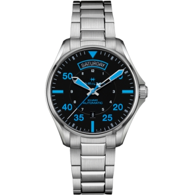 Hamilton 漢米爾頓 KHAKI PILOT 飛行員系列機械錶-黑x藍時標/42mm