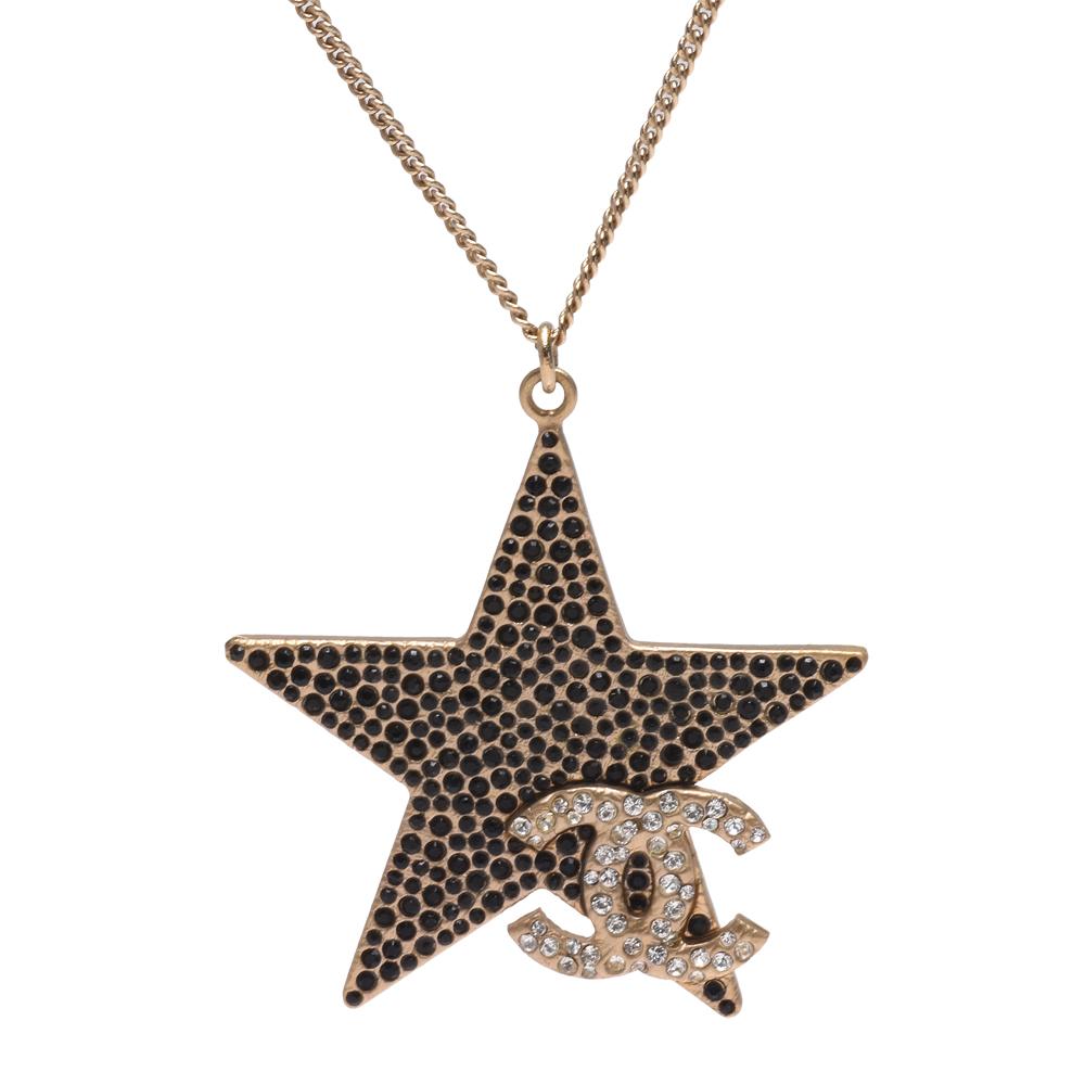 CHANEL 經典雙C LOGO水鑽鑲嵌五角星造型墜飾項鍊(金)