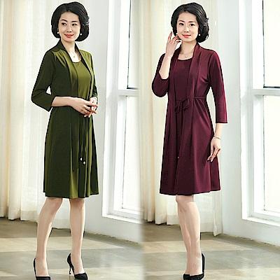 柔美氣質假兩件綁帶寬鬆連衣裙L-4XL-共三色-理