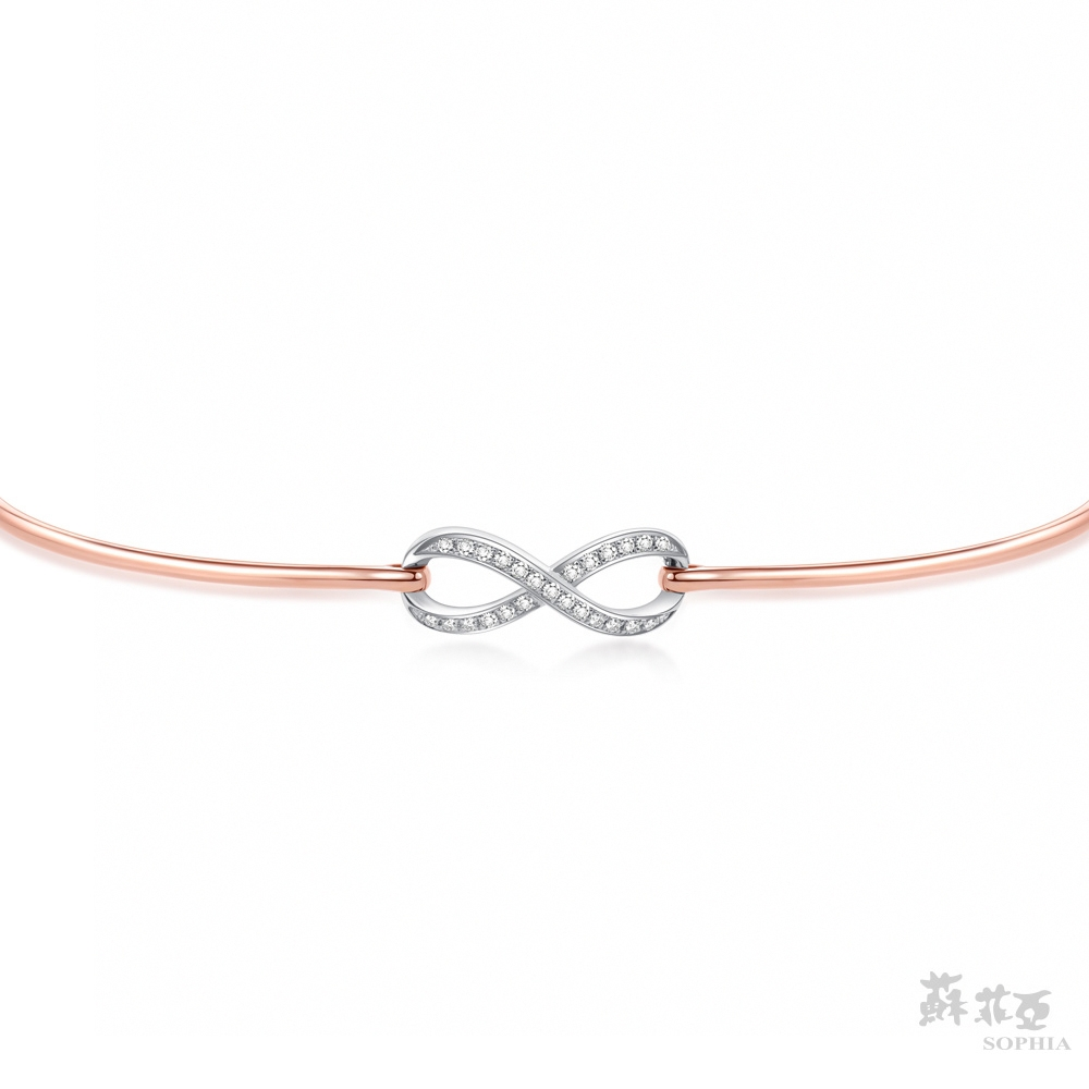 SOPHIA 蘇菲亞珠寶 - 無限的愛 14K雙色(玫瑰金+白金) 鑽石手鍊