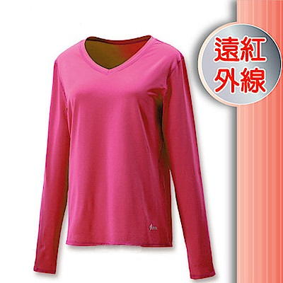 FIT 女 遠紅外線V領保暖內衣_FW2502 紫紅色 V