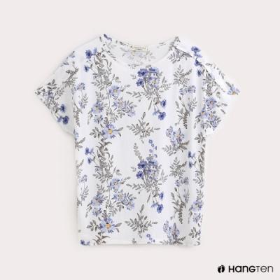 Hang Ten-女裝滿版花朵混紡休閒T恤-白