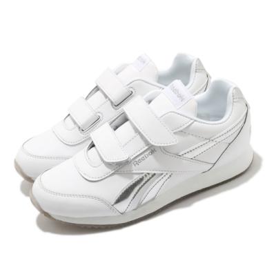 Reebok 休閒鞋 Royal CLJOG 2 運動 童鞋 海外限定 舒適 簡約 魔鬼氈 中童 白 銀 FV1525
