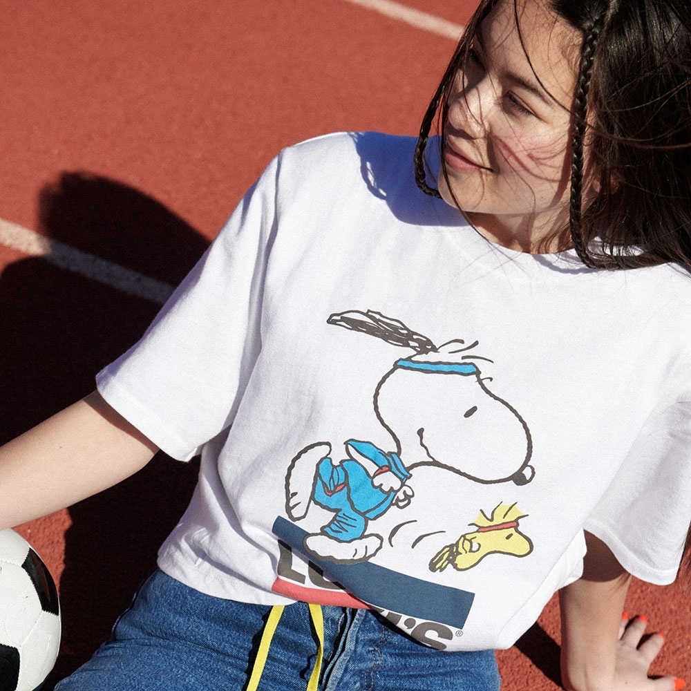Levis X Snoopy sport限量聯名 女款 短袖T恤 史努比、糊塗塔克賽跑Logo