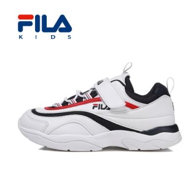 FILA 韓系復古運動鞋 白 大童(6~12歲) 3-J466T-123