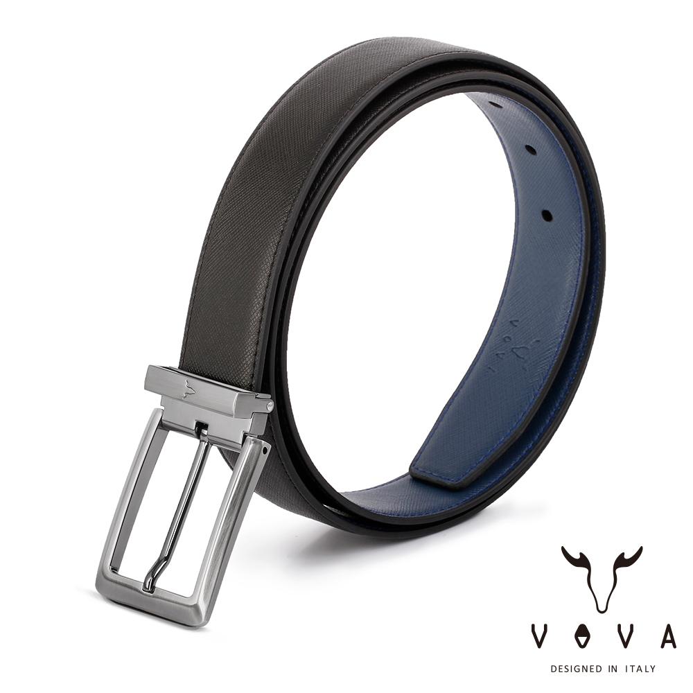 VOVA - 休閒紳士穿針式十字紋皮帶 - 銀色