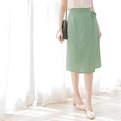 純色不易皺雪紡綁帶設計中長裙-OB大尺碼