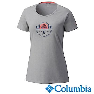 Columbia哥倫比亞 女款-快排短袖上衣-灰色 UAR11040GY