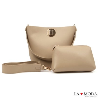 La Moda 時尚品牌感粗帶大容量肩背斜背子母包(深杏)