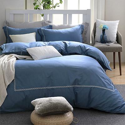 LASOL睡眠屋-300織刺繡設計款精梳棉 加大兩用被床包四件組 優雅藍