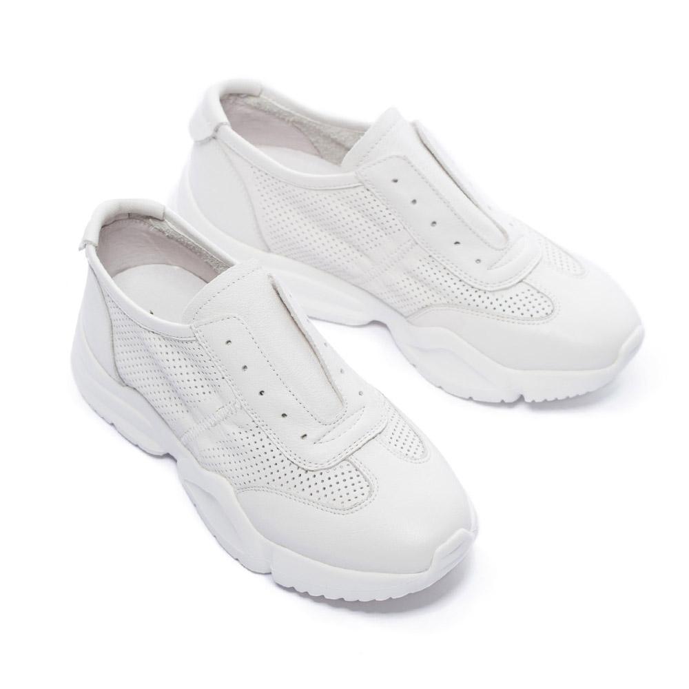 休閒鞋 MISS 21 率性兩穿式無鞋帶設計全真皮厚底休閒鞋-白