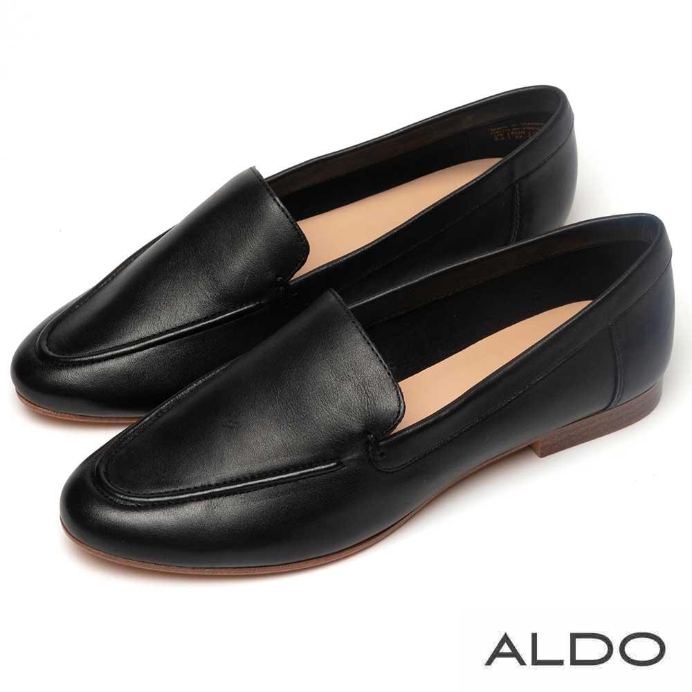 ALDO 原色真皮百搭木紋跟樂福鞋~尊爵黑色