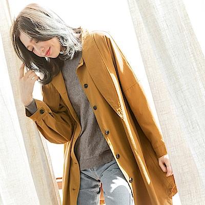 領結造型長版落肩風衣寬鬆外套-OB大尺碼