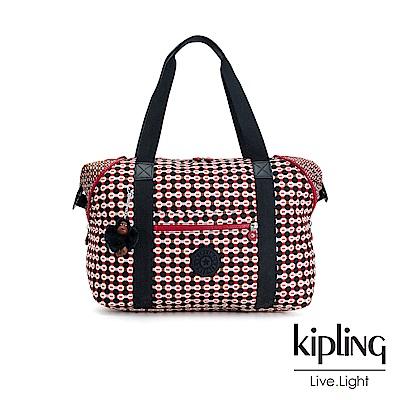 Kipling 紅褐火柴棒幾何圖騰手提側背包-ART M