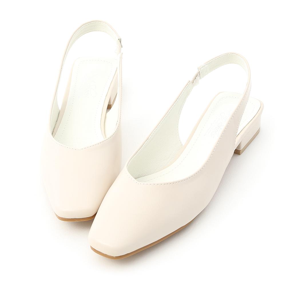 D+AF 清新女孩.小方頭素面後空低跟鞋*白