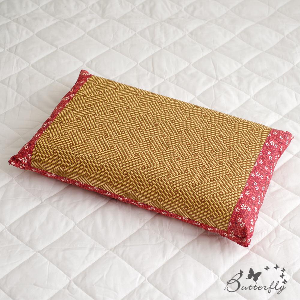 BUTTERFLY-台灣製造-天然健康亞藤織面淹水石枕頭一入-紅