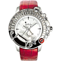 Galtiscopio迦堤 童真木馬系列 創作夢幻手錶-白x紅錶帶/50mm
