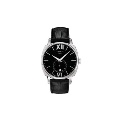 TISSOT T-Lord 都會紳士小秒針機械腕錶-黑/40mm T0595281605800