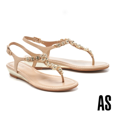 涼鞋 AS 奢華時尚晶鑽全真皮楔型夾腳涼鞋-米