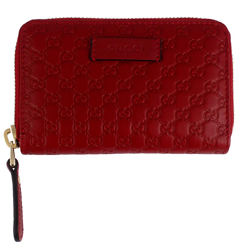 GUCCI Guccissima 紅色真皮壓紋拉鍊零錢/名片夾GUCCI