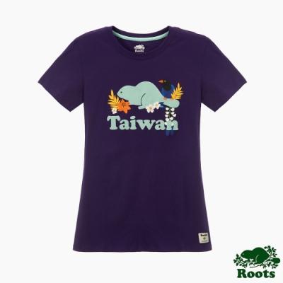 Roots女裝- 台灣日系列保育動物短袖T恤-紫色