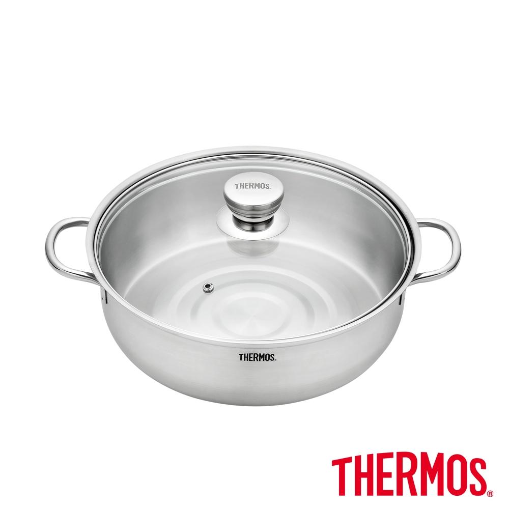 THERMOS膳魔師不鏽鋼含玻璃上蓋雙耳湯鍋火鍋28cm(KOS-W28H)