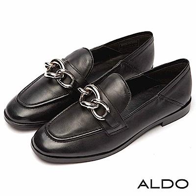 ALDO 原色真皮佐金屬鍊帶樂福鞋~尊爵黑色