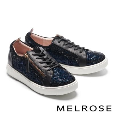 休閒鞋 MELROSE 閃耀時尚晶鑽拉鍊造型全真皮厚底休閒鞋-黑