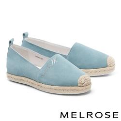 休閒鞋 MELROSE 純真簡約品牌晶鑽造型草編全真皮厚底休閒鞋-藍