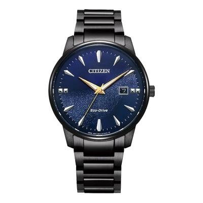 CITIZEN Eco-Drive 星際銀河時尚男錶-黑X藍-BM7528-86L-39.2mm