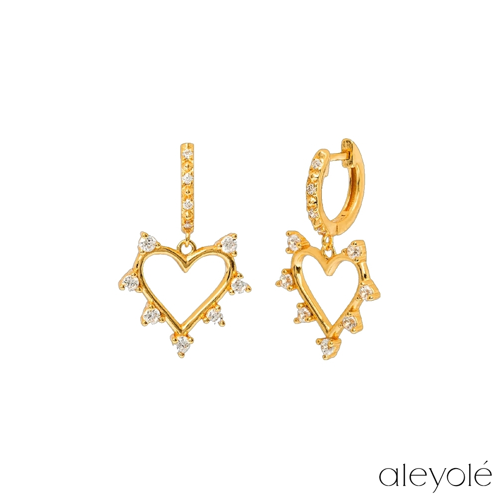 ALEYOLE 閃耀鏤空愛心925純銀鍍18K金耳環 OUI GOLD