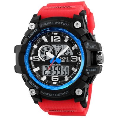 Mirabelle戶外狂熱 多功能鬧鐘防水矽膠手錶 紅帶藍框54mm