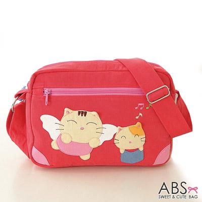 ABS貝斯貓 可愛貓咪手工拼布 斜背包 側背包(甜心粉)88-166