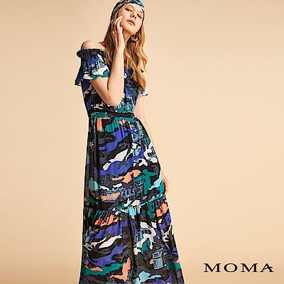 MOMA 彩色迷彩荷葉洋裝