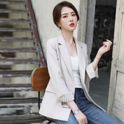 自信魅力韓版純色雙釦西裝小外套M-3XL(共三色)-Dorri