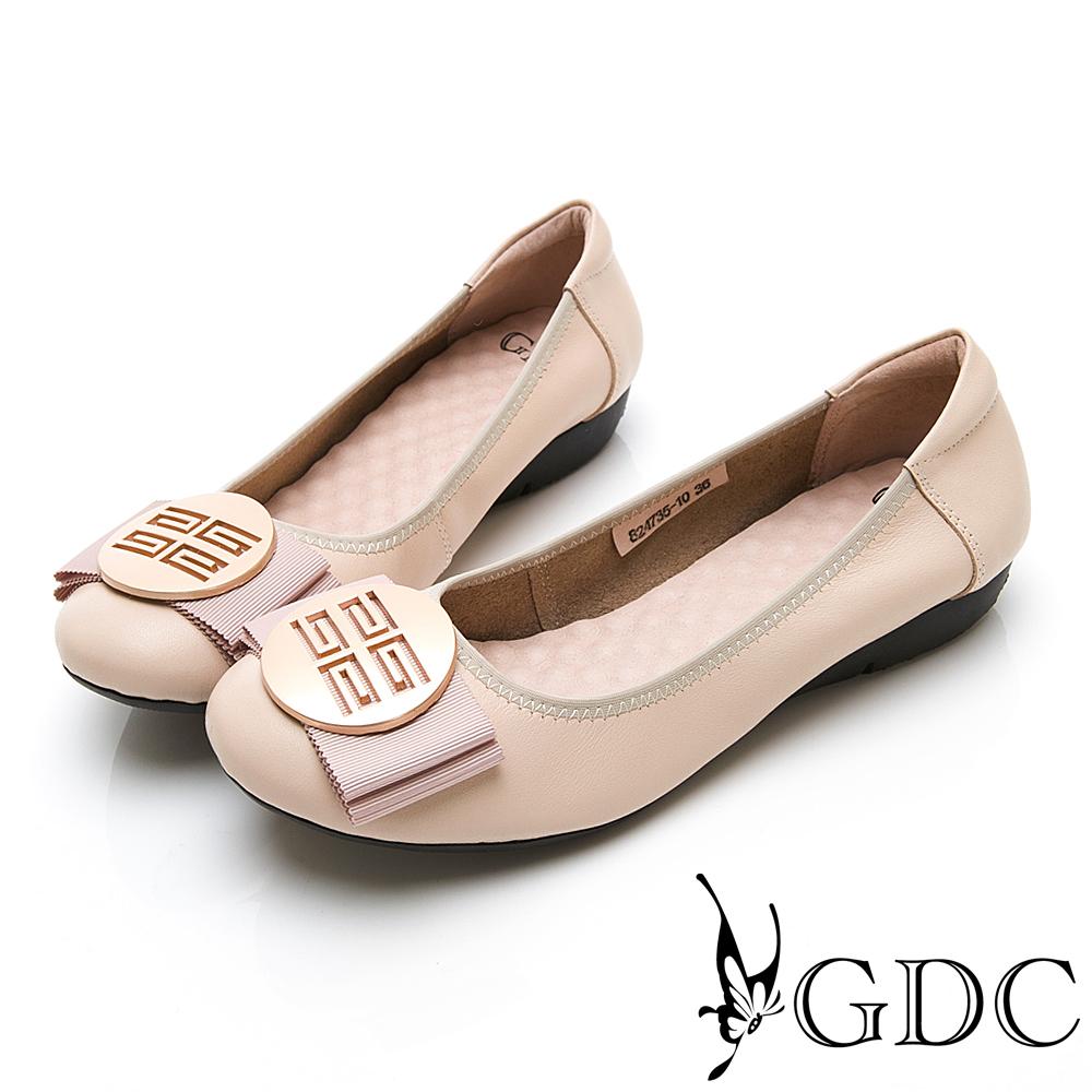 GDC-真皮摩砂釦蝴蝶結基本素面款平底鞋-米色