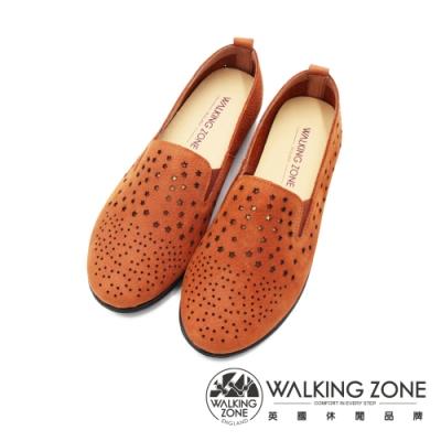 WALKING ZONE (女)圓頭星點樂福鞋 懶人鞋 女鞋 -棕(另有灰)