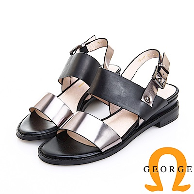 GEORGE 喬治皮鞋 率性時尚 一字帶柔軟羊皮低跟涼鞋 -銀灰色