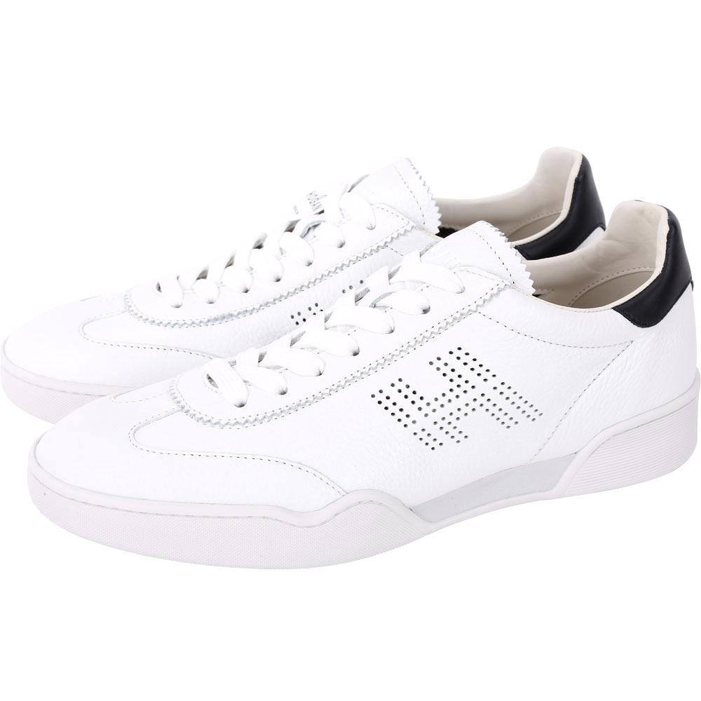 HOGAN H357 H 穿孔皮革繫帶休閒鞋(男款/白色)