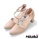 Miaki-高跟鞋首爾穿搭尖頭粗跟包鞋-卡其
