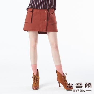 【麥雪爾】棉質口袋造型鈕扣裝飾短裙-磚