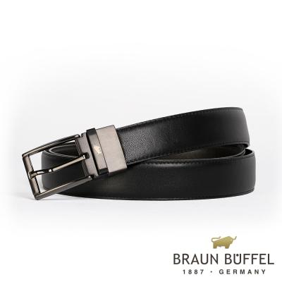 BRAUN BUFFEL - 英倫紳士美學穿針式皮帶 - 鎗色