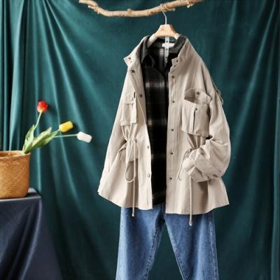 英倫風寬鬆風衣外套收腰顯瘦氣質大衣-設計所在
