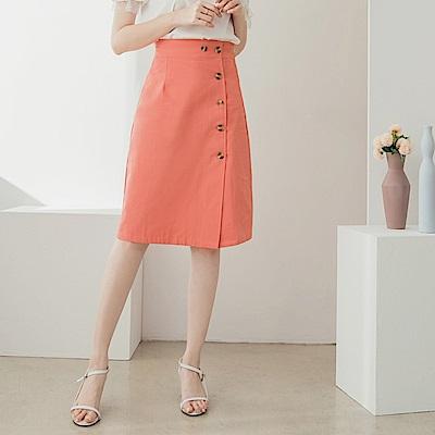 純色高含棉排釦開衩中長裙-OB大尺碼