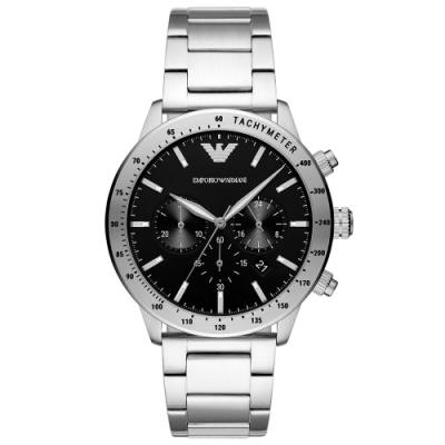 Emporio Armani 亞曼尼自信三眼計時時尚手錶(AR11241)-黑/43mm