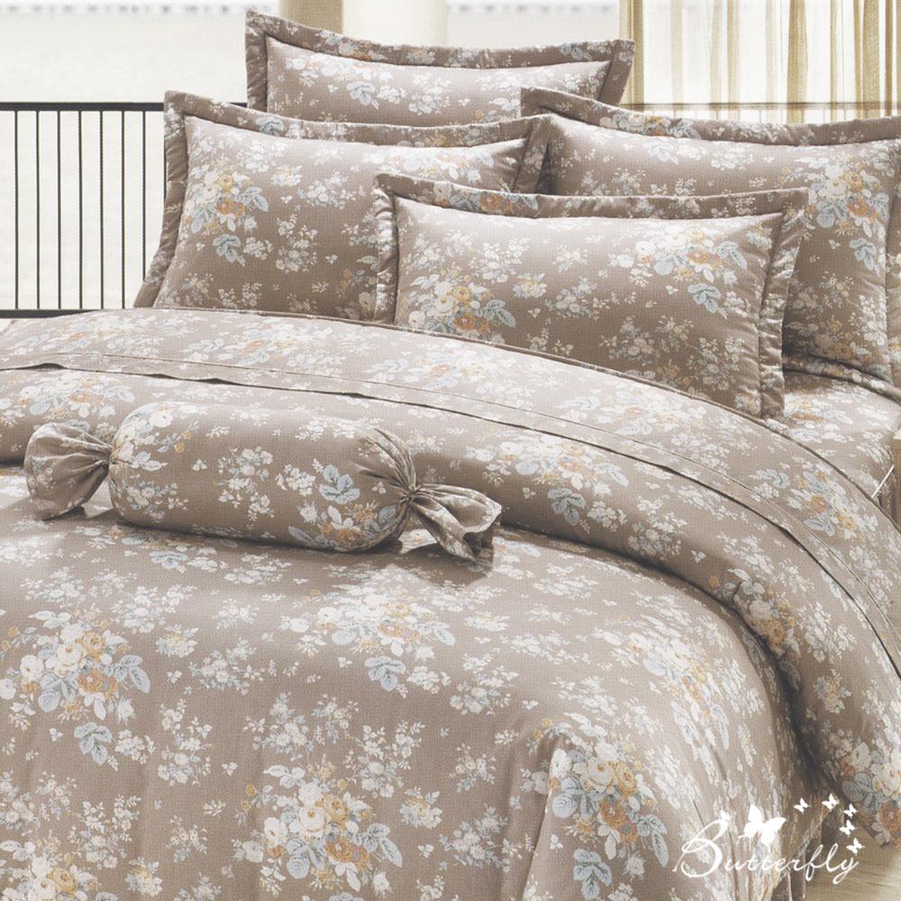 BUTTERFLY-台製40支紗純棉-雙人6x7尺鋪棉兩用被-少女時代-灰