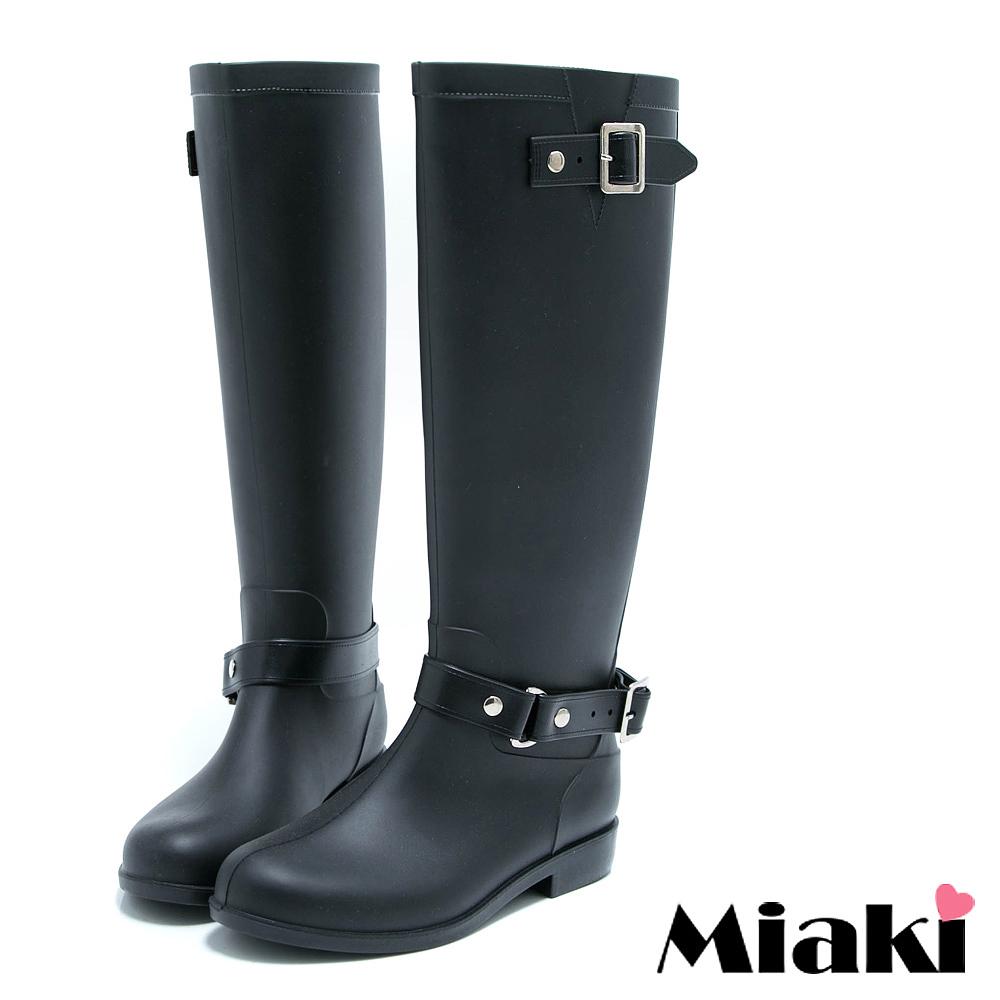 Miaki-雨天必敗雨靴平底低跟高筒長靴