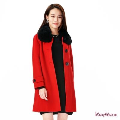 KeyWear奇威名品    經典狐狸毛領毛呢手工大衣-紅色